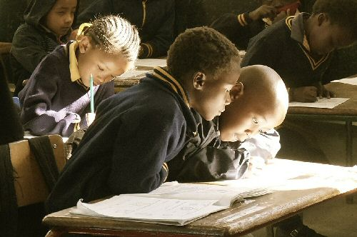 Children reading in classroom